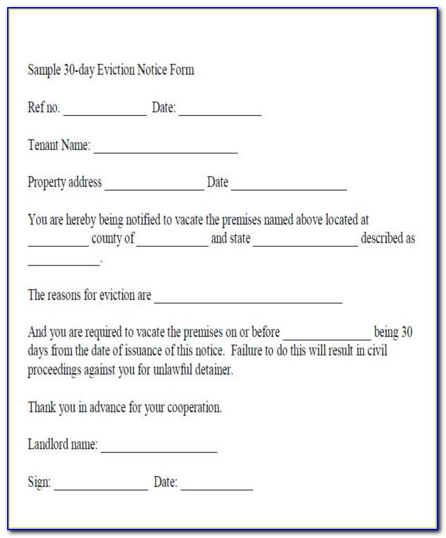 Free 30 Day Eviction Notice Form Florida