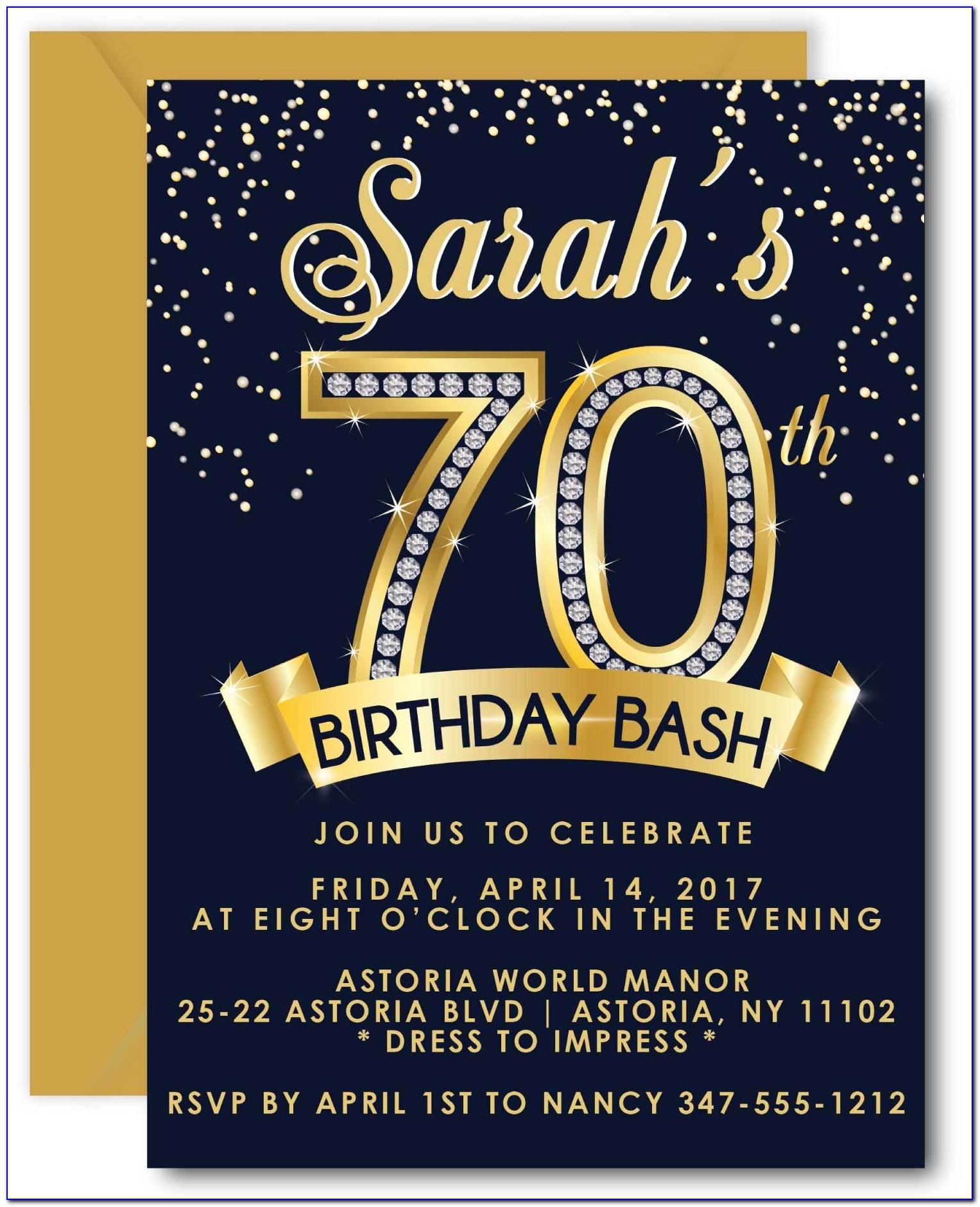 Free 70 Th Birthday Invitations Templates
