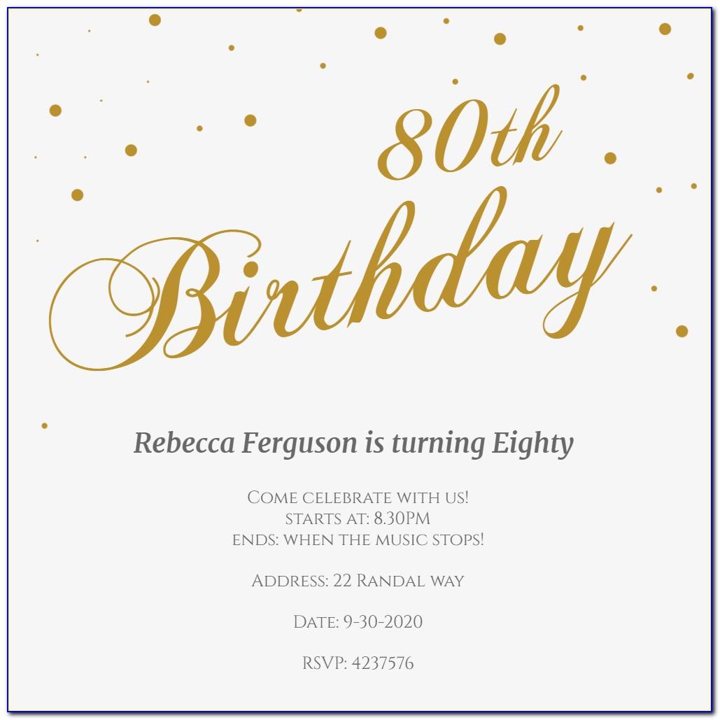 Free 80 Th Birthday Invitations Templates