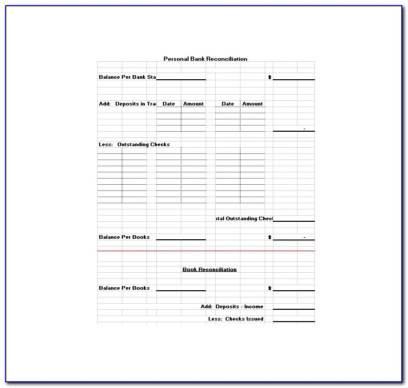 Free Bank Reconciliation Template Uk