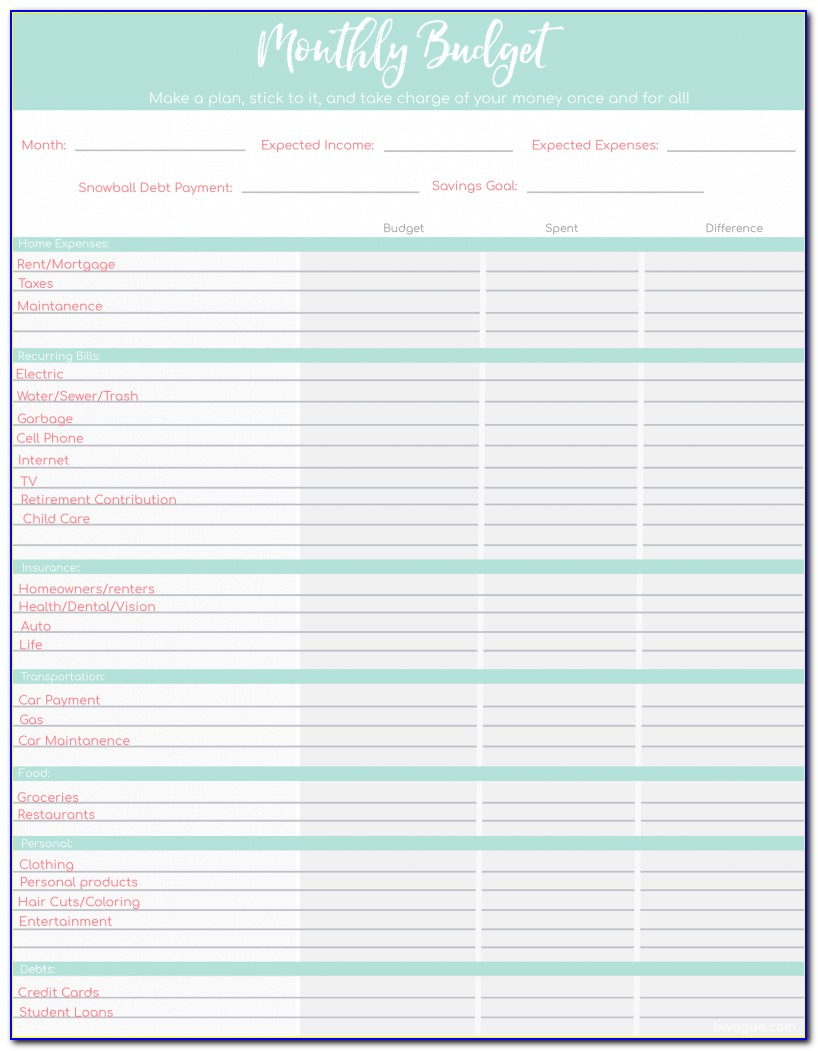 Free Budget Template For Excel Household