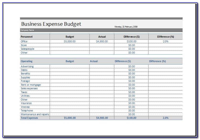 Free Business Expense Template Excel
