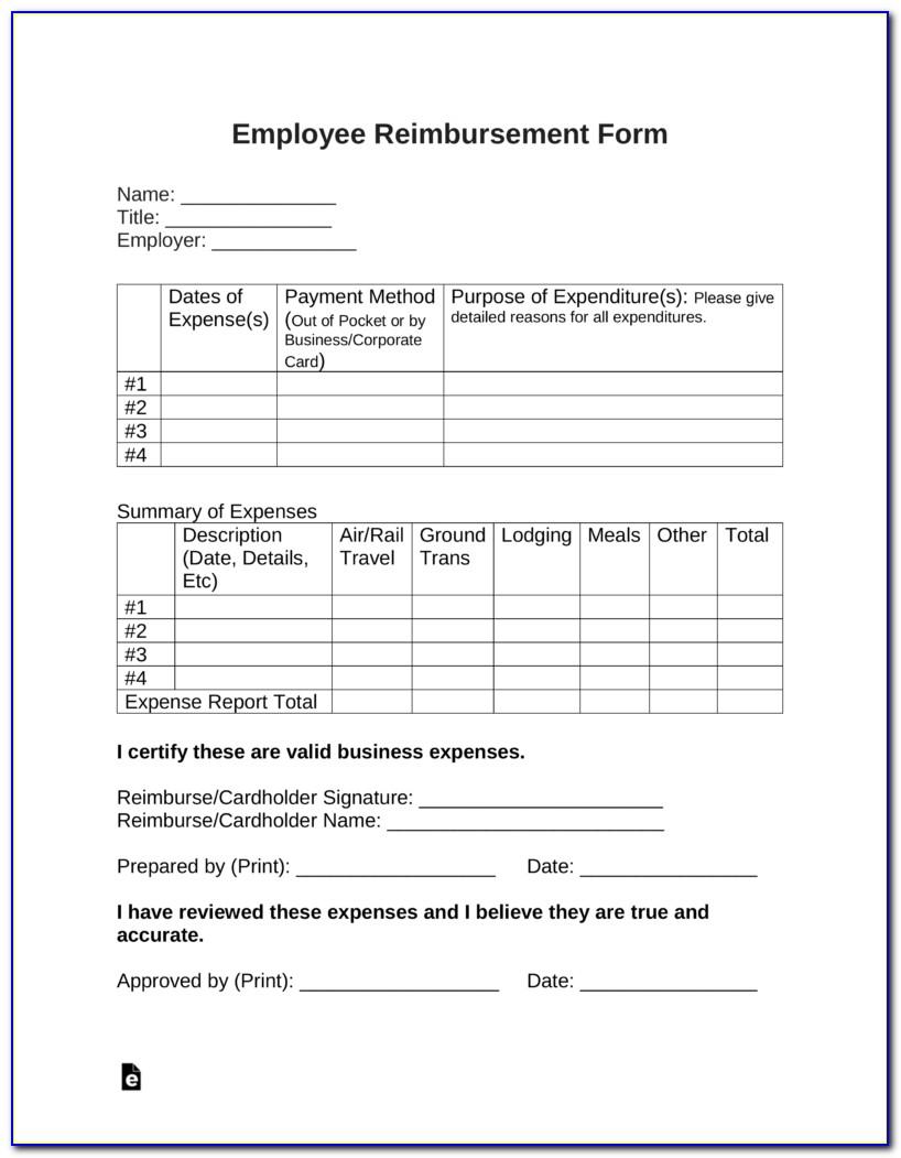 Free Expense Reimbursement Form Template