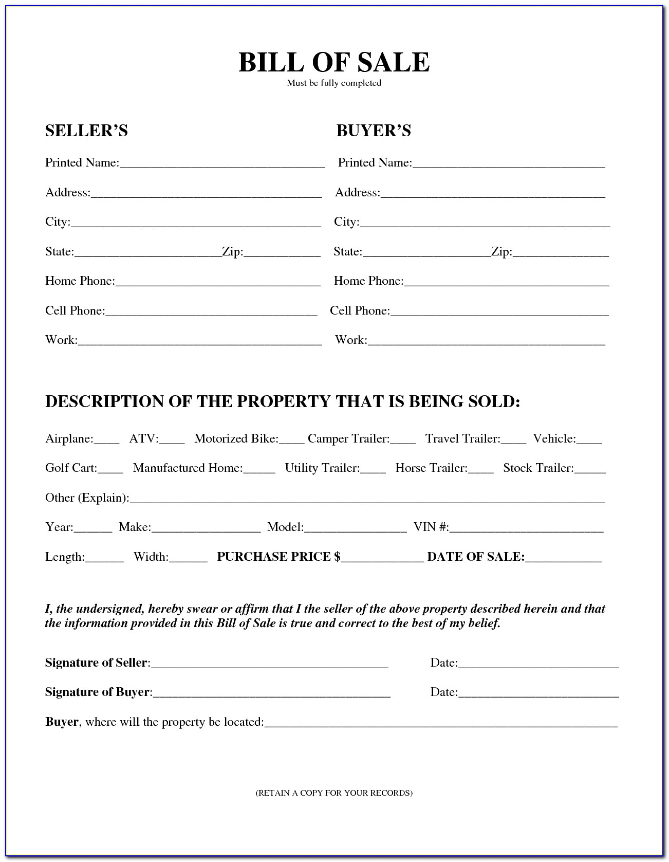 Free Horse Bill Of Sale Template