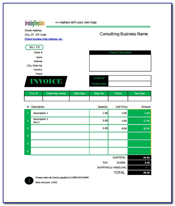 Free Hourly Billing Invoice Template