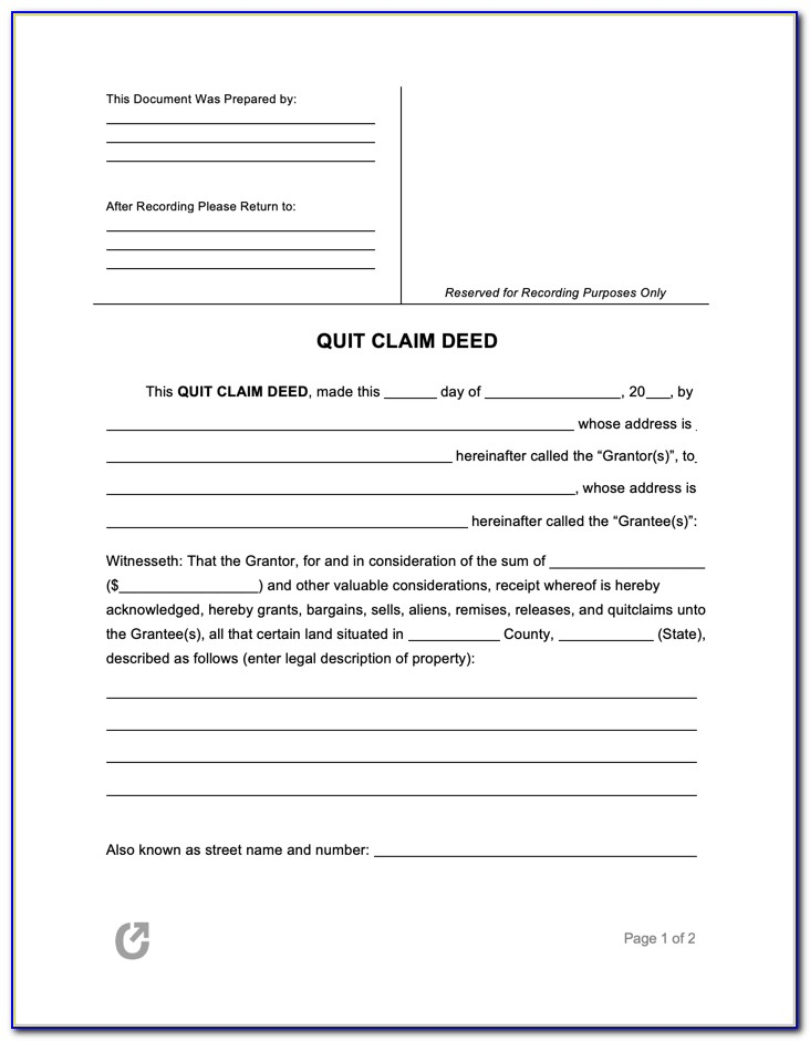 Free Quit Claim Deed Form Orange County Florida
