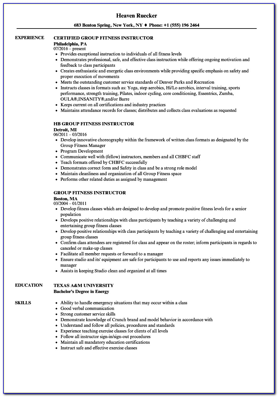 Group Fitness Instructor Resume Example