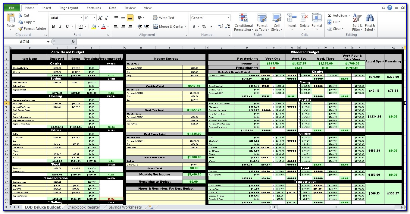 Microsoft Excel Expense Tracking Template