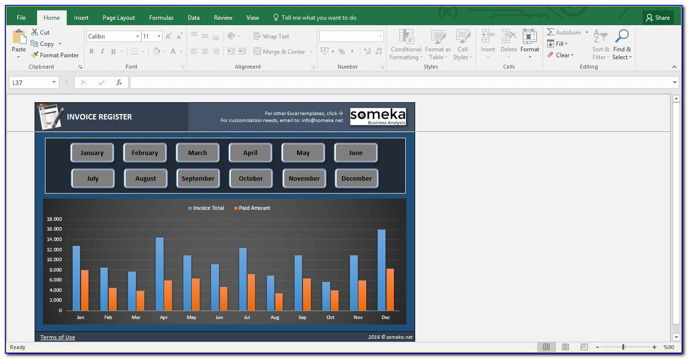 Microsoft Excel Invoice Tracking Template