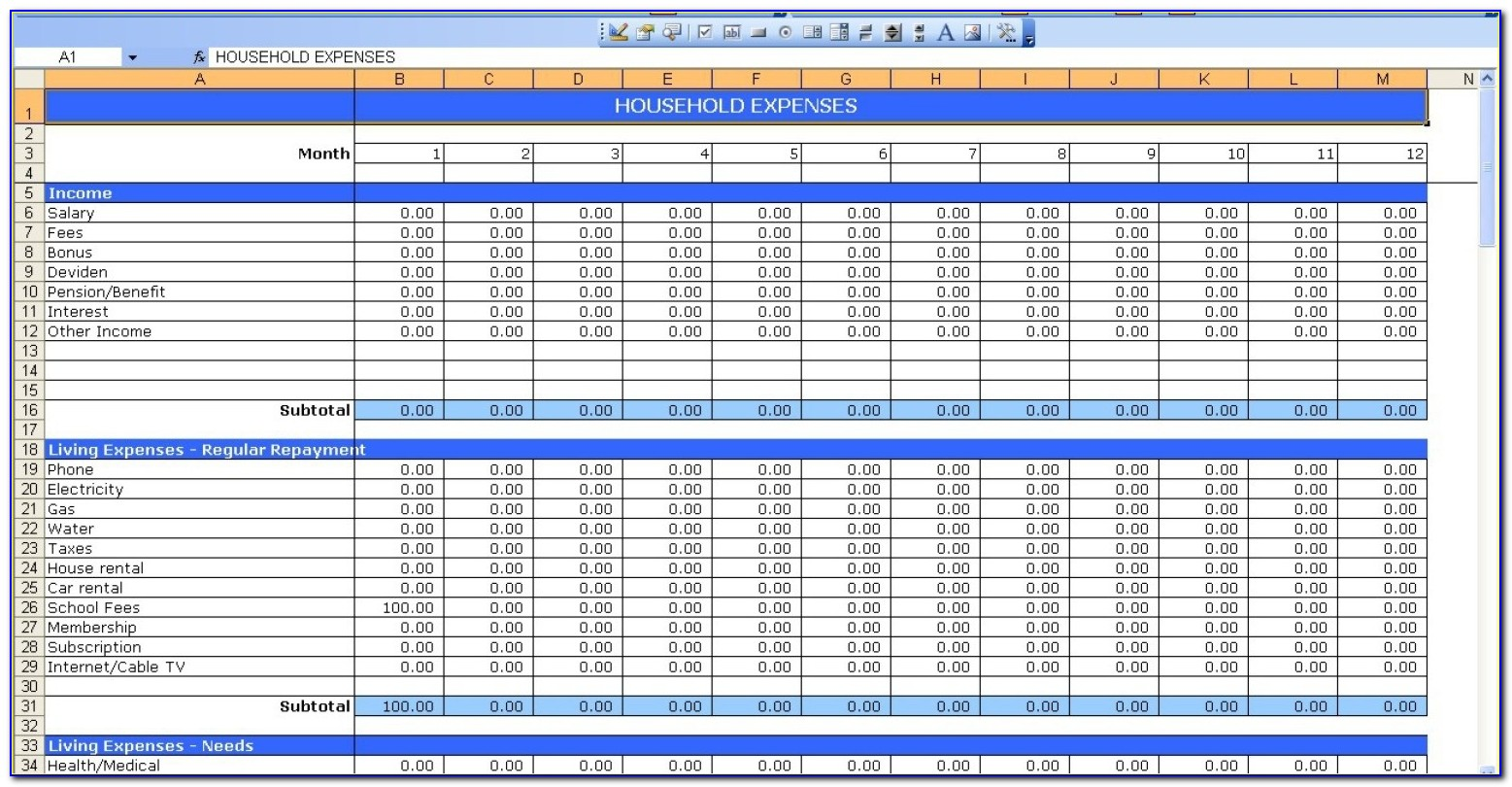 Monthly Budget Report Template Excel