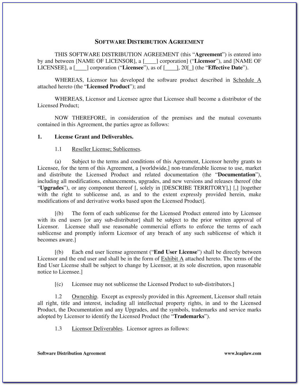 Non Exclusive Distribution Agreement Template Free