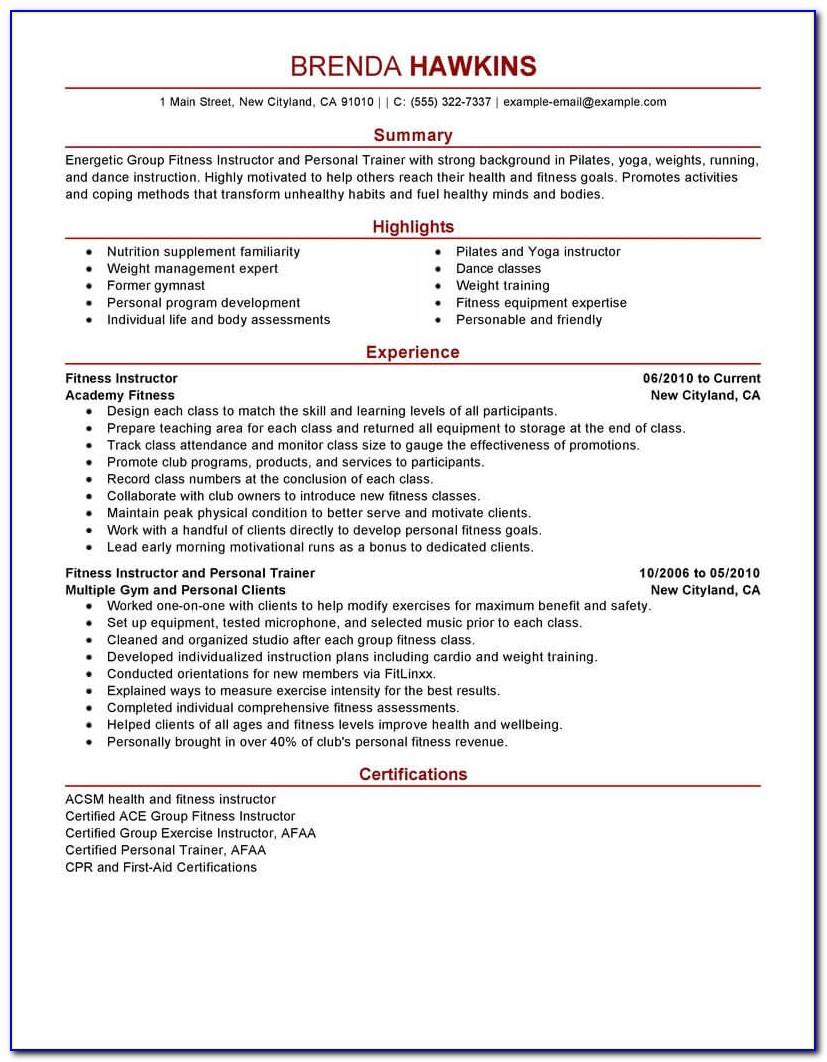 Personal Trainer Resume Samples