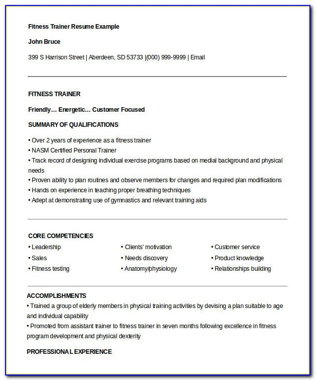 Personal Trainer Resume Templates