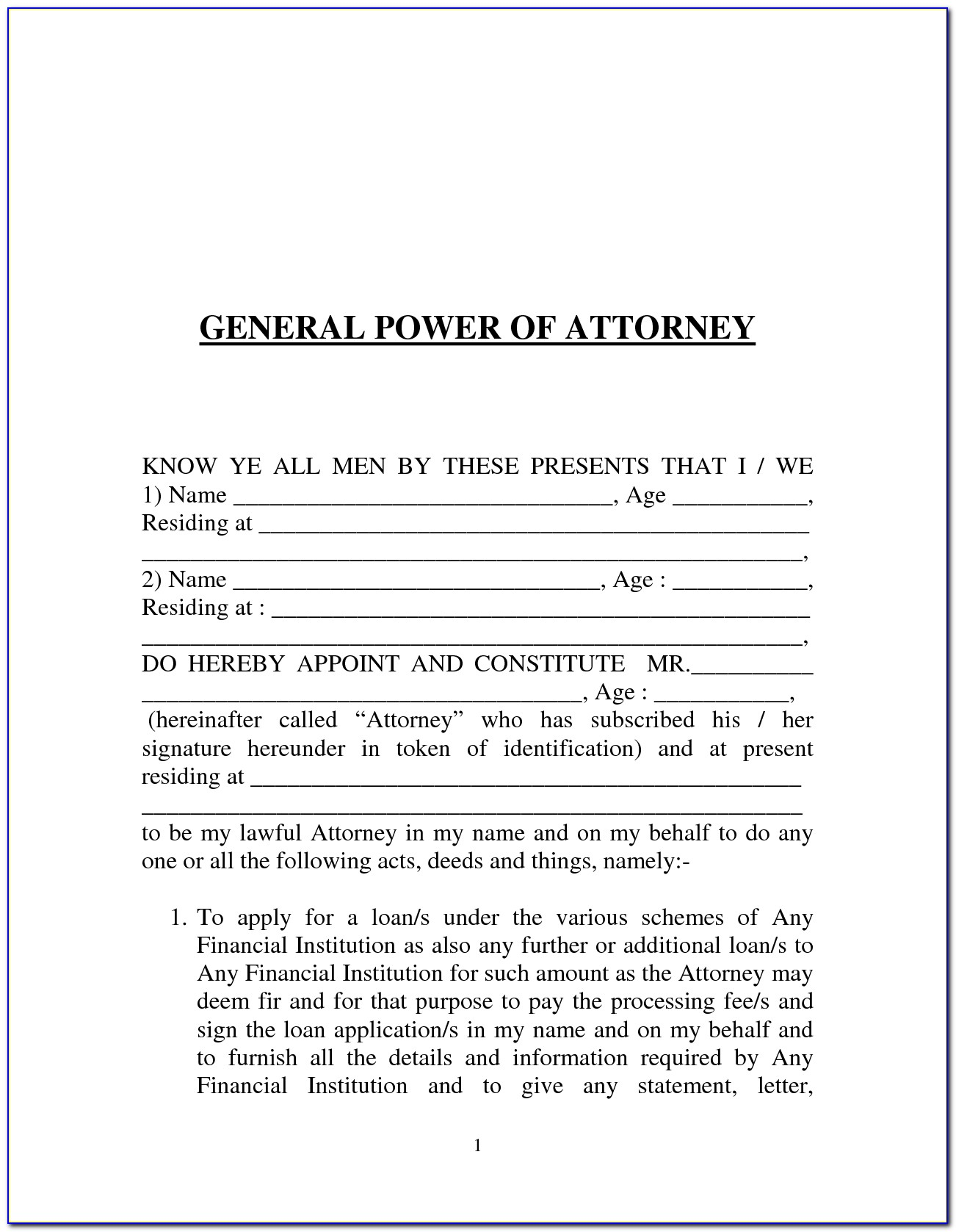 Sample Form For Durable Power Of Attorney