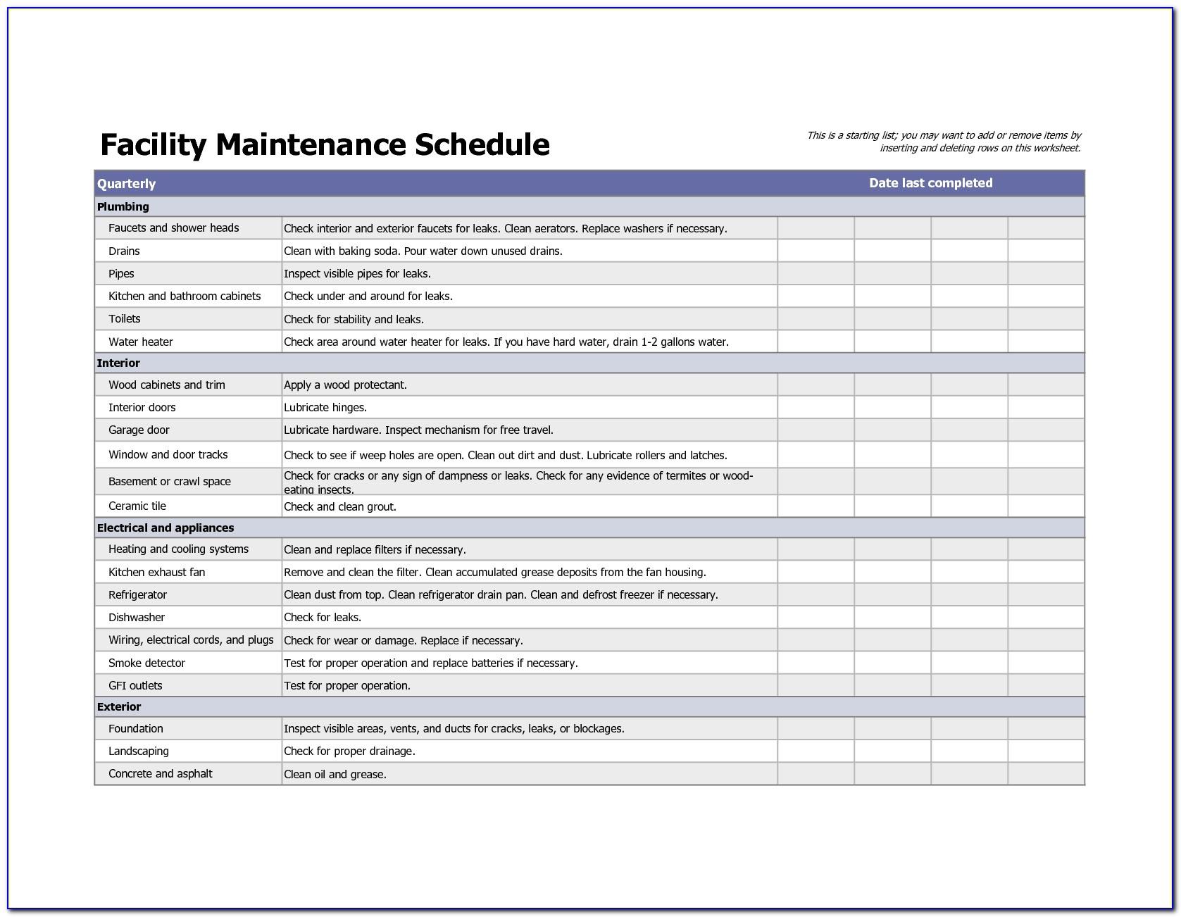 School Facilities Maintenance Plan Template