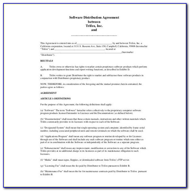 Sole Distributor Agreement Template Free