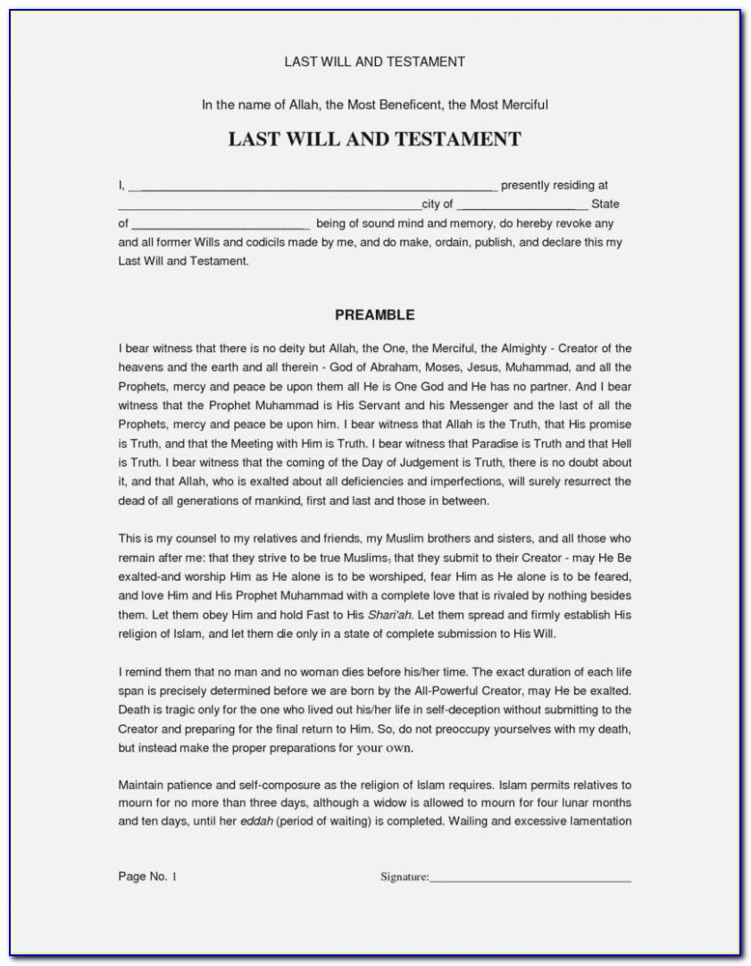 State Of Florida Last Will And Testament Form