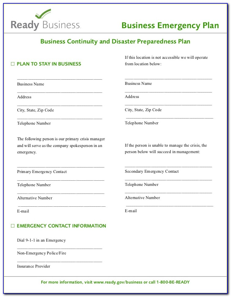 Construction Emergency Preparedness And Response Plan Template