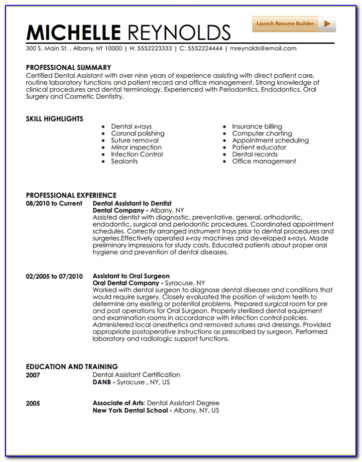 Dental Assistant Resume Sample 2018