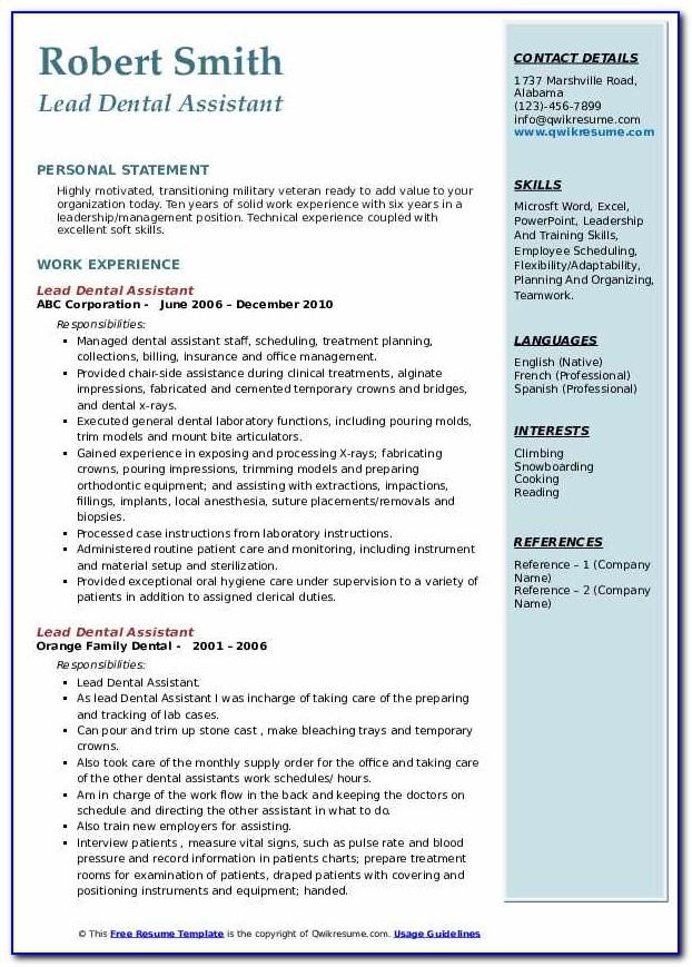 Dental Assistant Resume Sample Australia