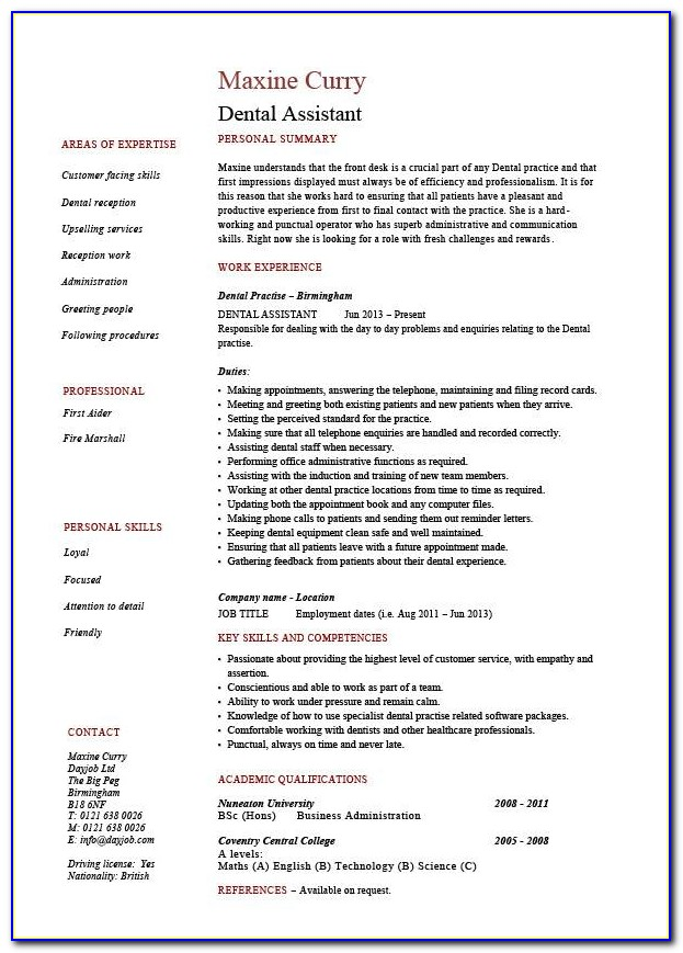 Dental Assistant Resume Sample Canada