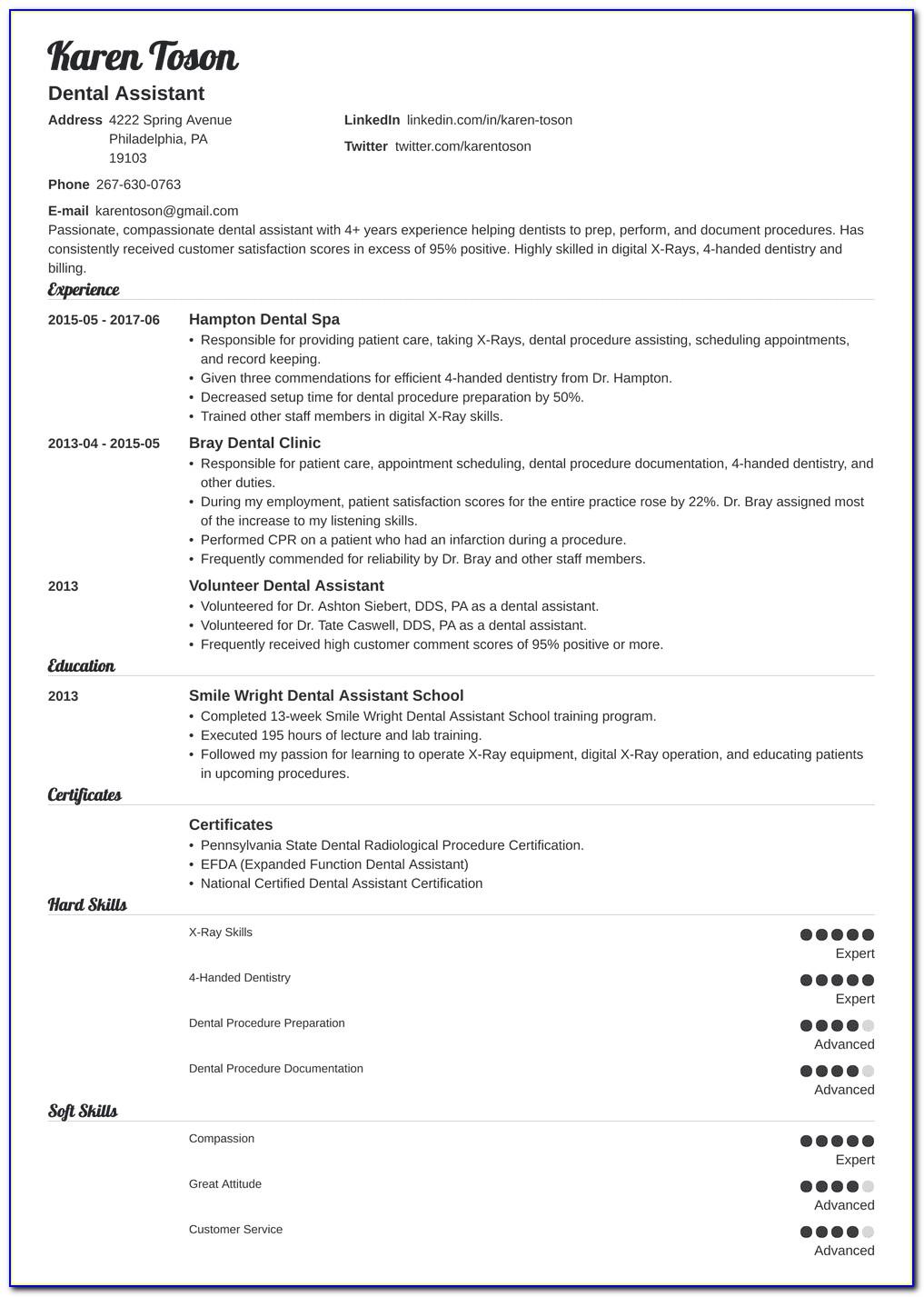 Dental Assistant Resume Sample Cover Letter