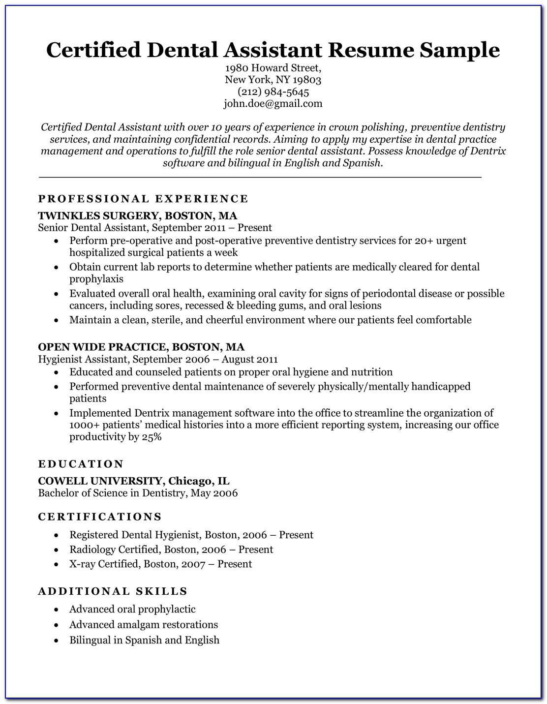 Dental Assistant Resume Sample Entry Level