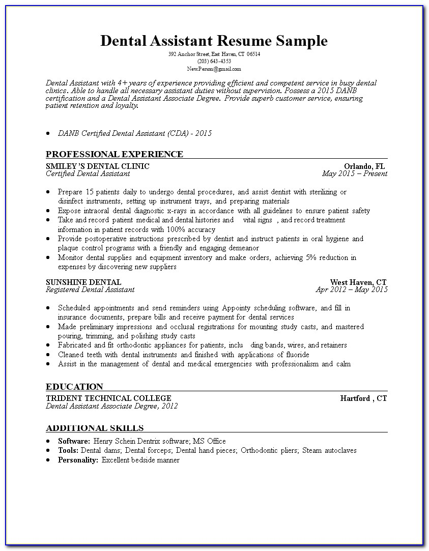 Dental Assistant Resume Sample Objective