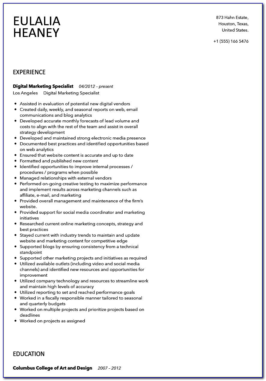 Digital Marketing Specialist Resume Template