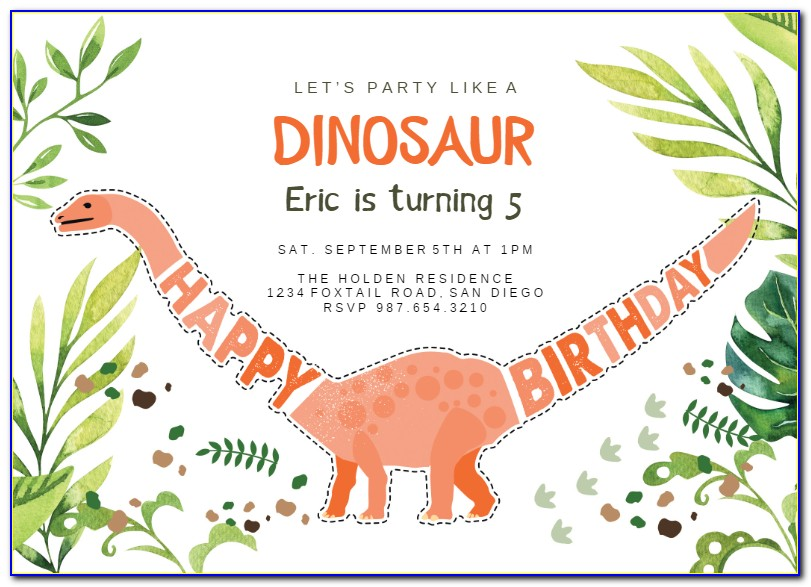Dinosaur Birthday Invitations Free Printables