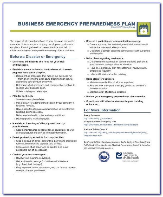 Disaster Preparedness Plan Example