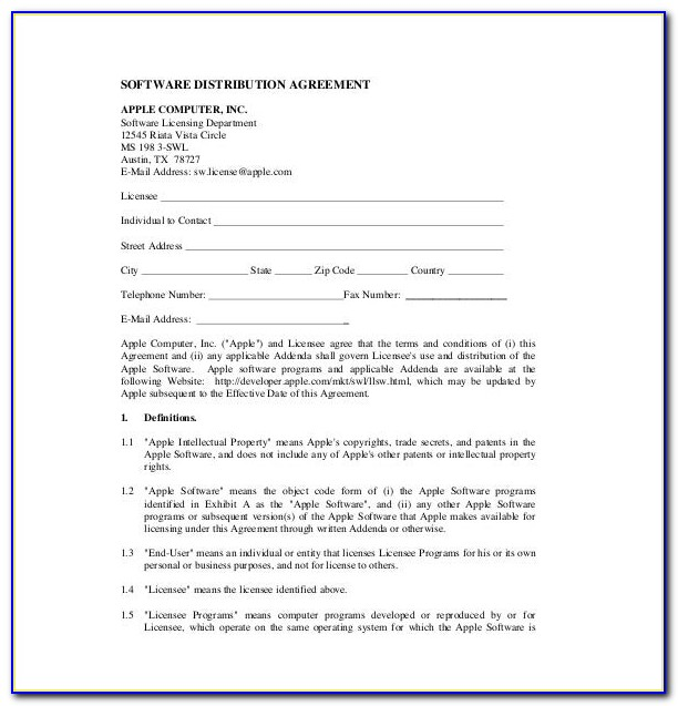 Distribution Agreement Template Australia