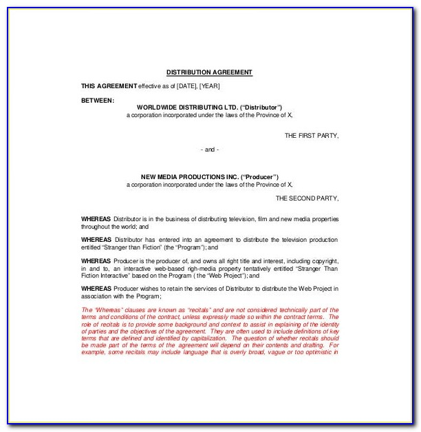 Distribution Agreement Template Canada