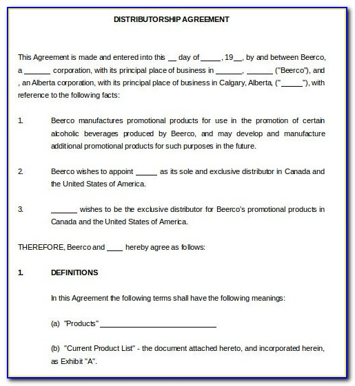 Distributor Agreement Template South Africa