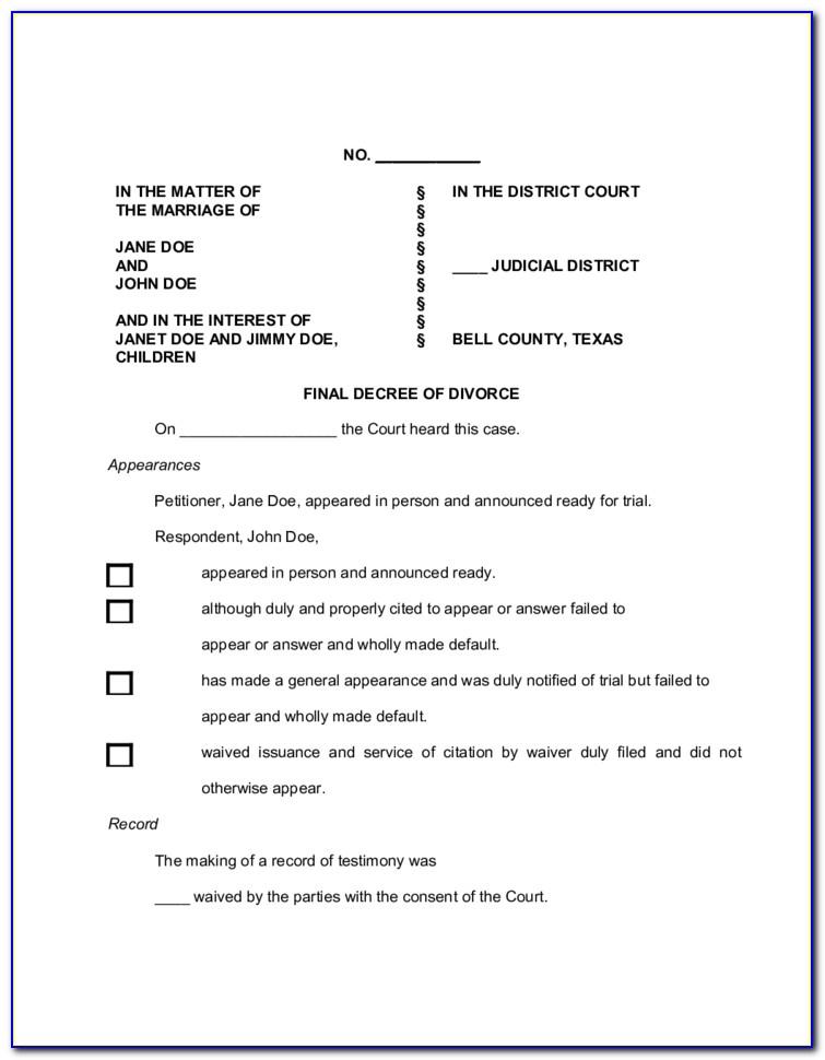 Divorce Decree Sample South Africa