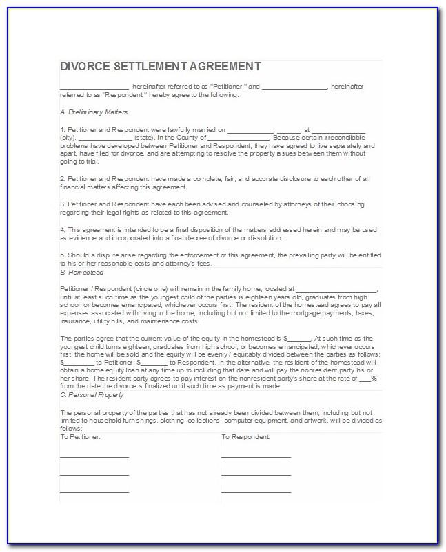 Divorce Settlement Agreement Example Uk