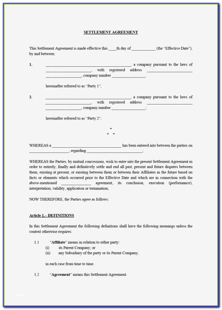 Divorce Settlement Agreement Sample South Africa