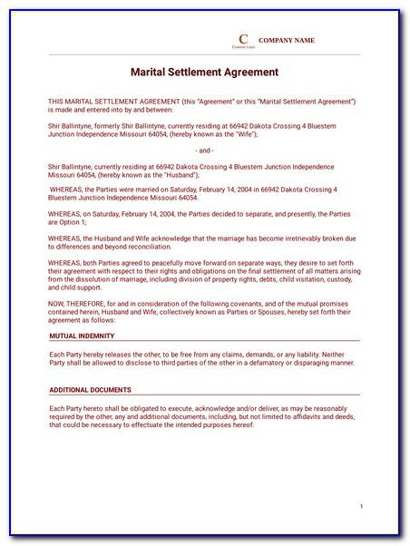 Divorce Settlement Agreement Template Indiana