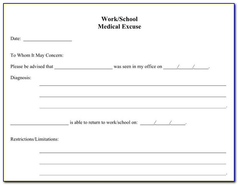 Doctors Note For Missing Work Example