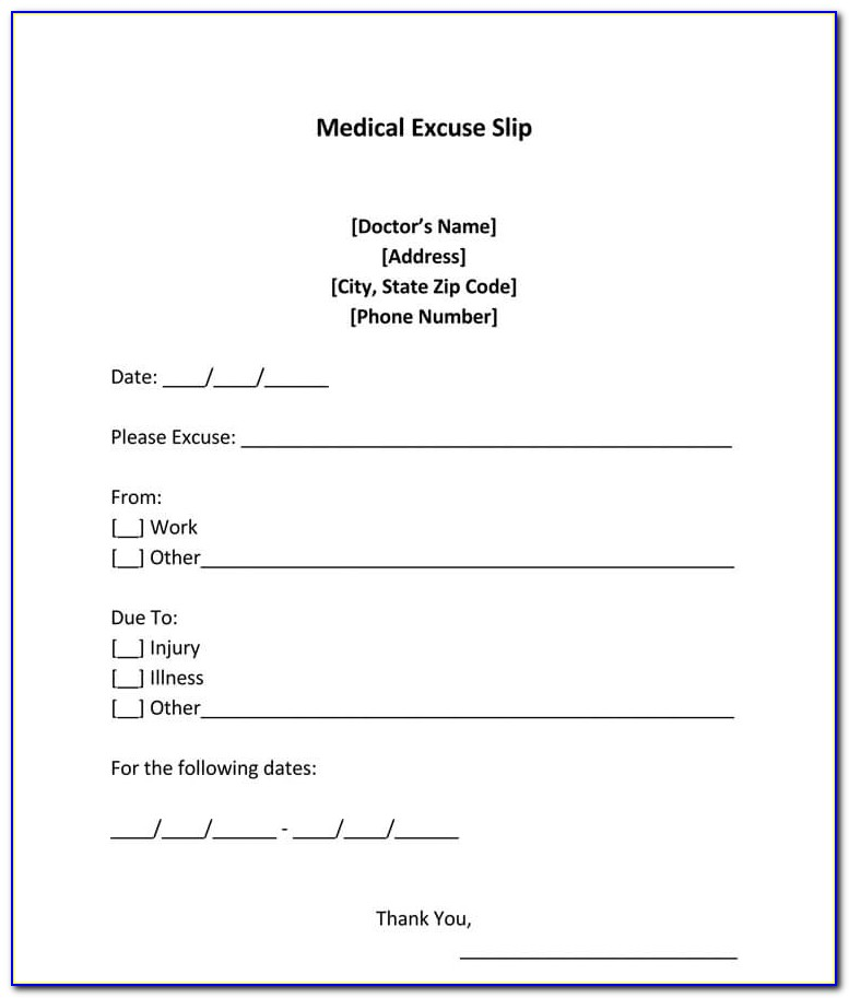 Doctor's Note For Work Template Free