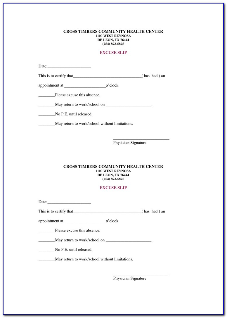 Doctors Note For Work Template Pdf