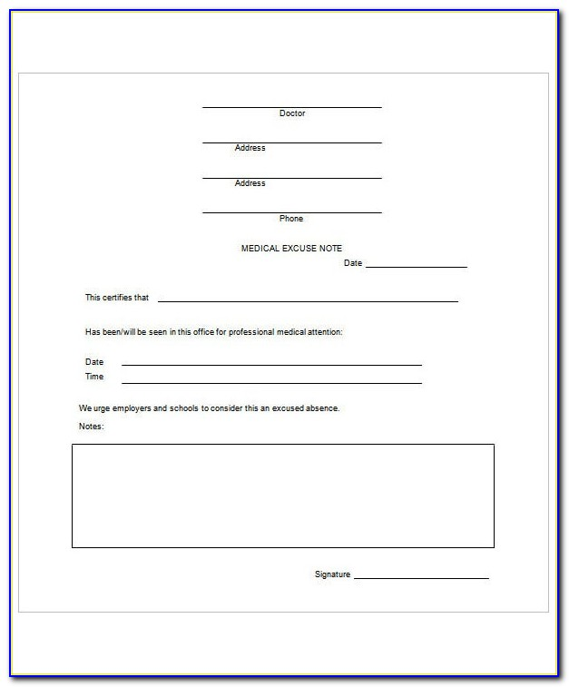 Doctors Note For Work Template Uk