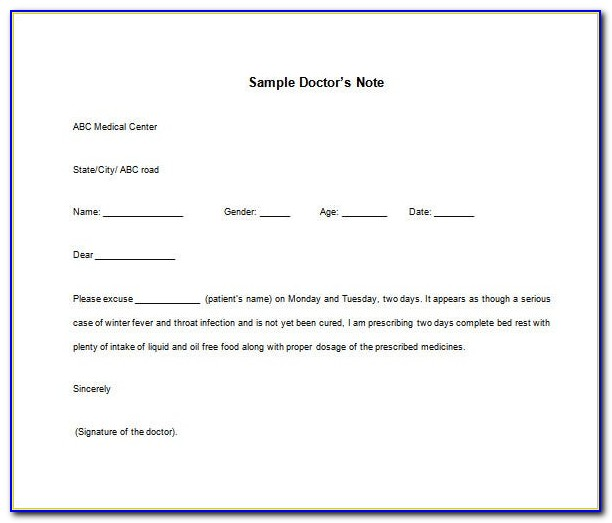Doctors Note Free Printable