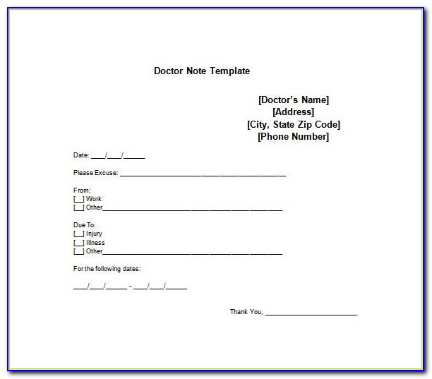 Doctors Note Template Download Free