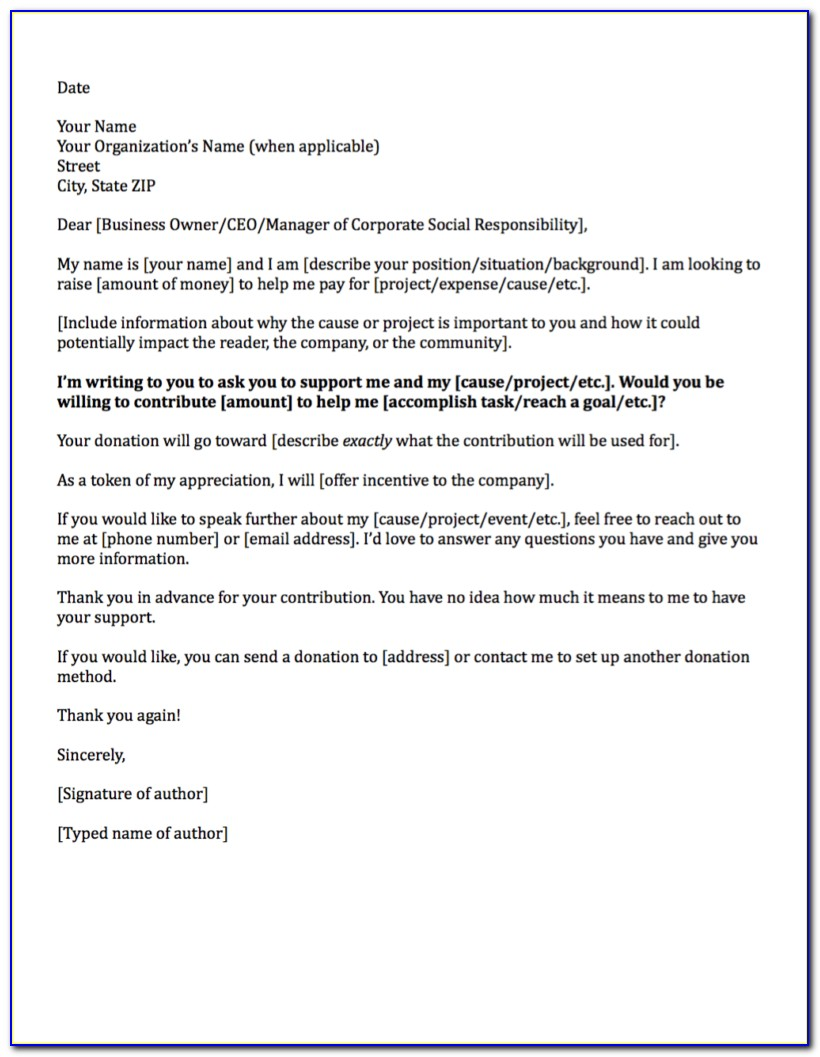 Donation Letter Template Doc