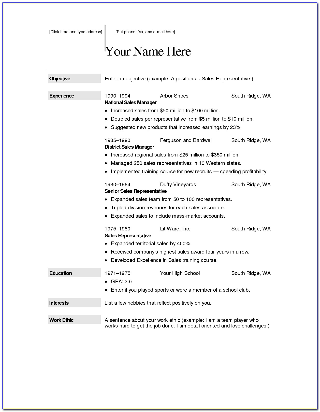 Download Resume Templates For Free Microsoft Word