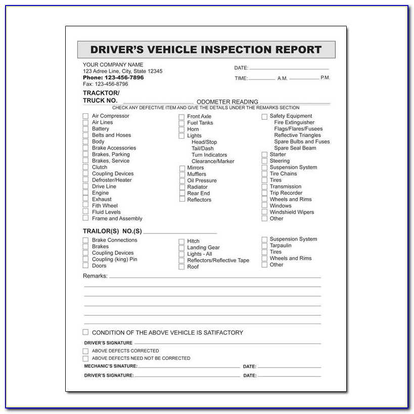 Driver's Vehicle Inspection Report Form