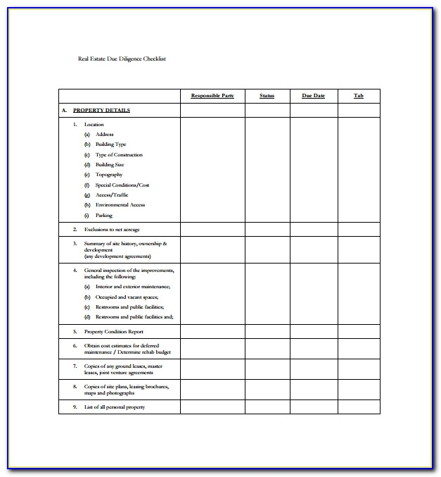 Due Diligence Checklist Doc