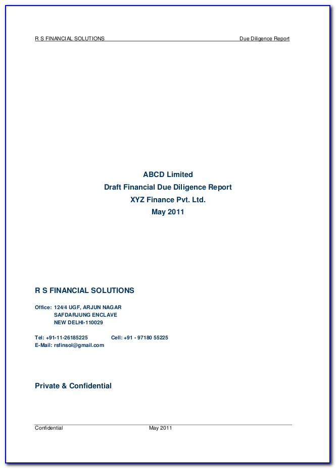 Due Diligence Report Format For Private Limited Company