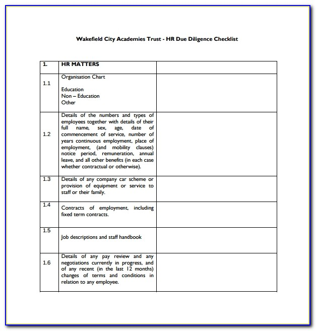 Due Diligence Report Format